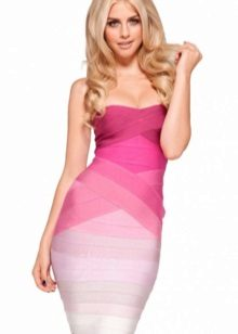 Fuchsia dress in combination with white