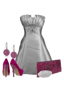 Gray satin dress at pink accessories