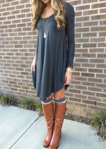 Short gray dress with high boots
