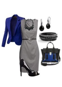 Blue shoes and a jacket to a dress of gray color