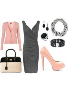Pink accessories for a dress of gray color