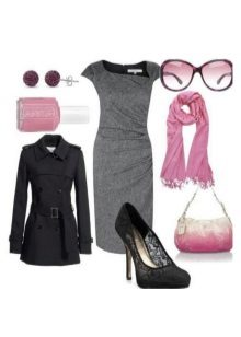 Gray dress at pink accessories