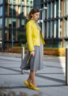 Yellow cardigan and yellow shoes to a gray dress