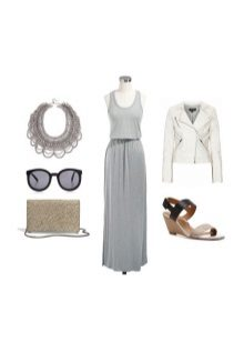 Gray knit dress na may white leather jacket