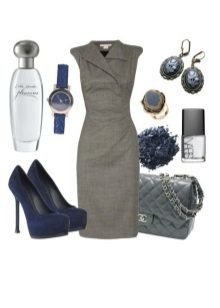 Gray dress in combination with accessories take off