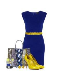 Koyu mavi elbiseli sarı ayakkabılar
