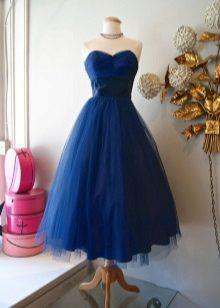 Koyu mavi uzun kabarık gece elbisesi