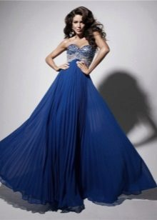 Koyu mavi uzun elbise