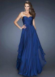 Koyu mavi uzun gece elbisesi