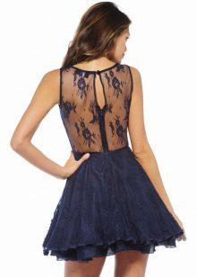 Koyu mavi renkte güpür elbise