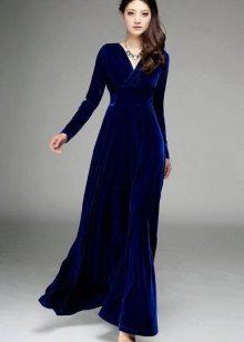 Lacivert Kadife Elbise