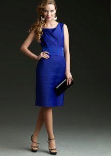 Bainha vestido noite joelho azul