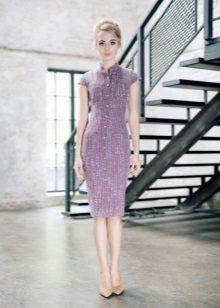 Evening vestido na altura do joelho lilás