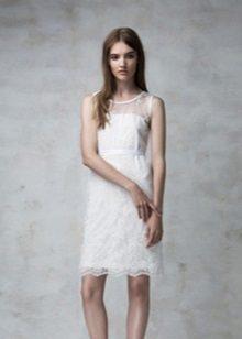 Bainha vestido noite laço branco