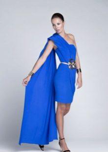 Vestido midi noite azul com trem