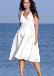 Лято бяла миди рокля за бременни жени