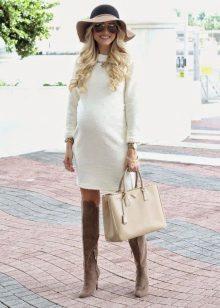 Обувки за рокля за бременни бели