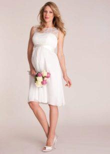 Обикновена рокля за бременна с дантела