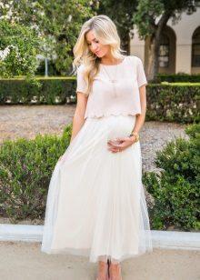Бяла рокля топла сянка за бременни жени