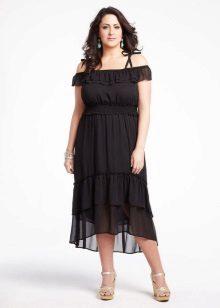 Zwarte jurk met asymmetrische rok voor vol