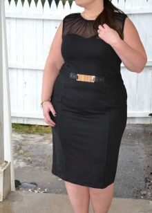 Vestit de màniga curta sense mànigues negre per a dones obeses