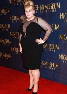 Zwarte avond middellange jurk voor vol