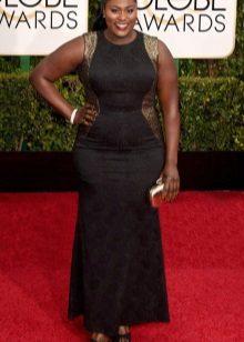 Lange avond zwarte jurk met gouden inzetstukken voor zwaarlijvige vrouwen
