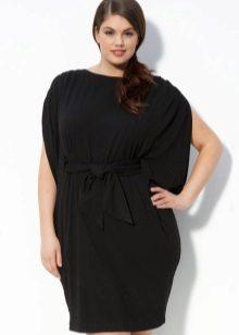 Zwarte jurk van dik knitwear voor vol