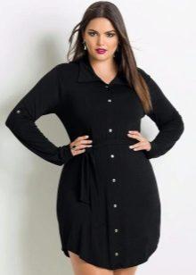 Vestit de camisa curta de color negre complet