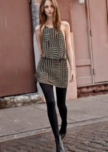 Color dress with black tights