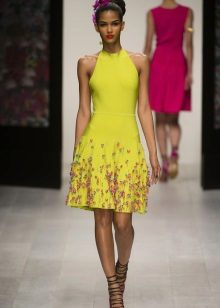 Color dress short with an armhole