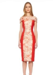 Dress with contrasting inserts