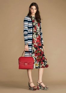 Color dress with striped jacket
