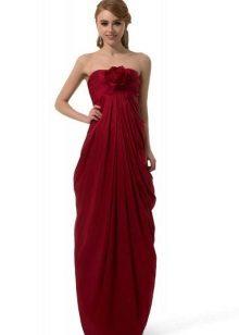 Lange jurk met drapering op de buik