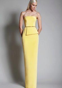 Sarışın için gri-sarı elbise