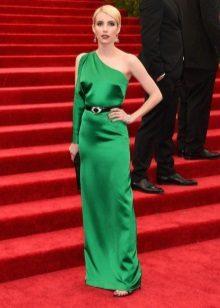 Bir omuz yeşil elbise