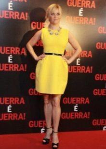 Sarı gece elbisesi kısa