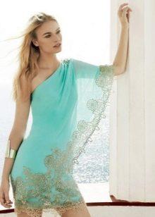 Sarışın için mavi elbise