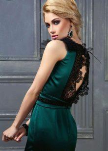 Sarışın için koyu yeşil elbise