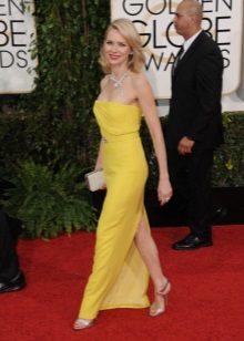 Yere sarı gece elbisesi