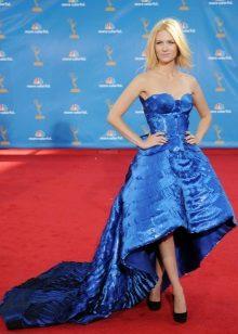 Mavi yüksek-düşük elbise