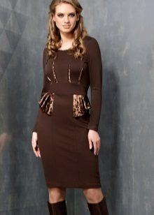 Dark Brown Midi Office Dress