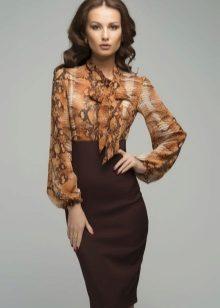 brun kontor midi kjole