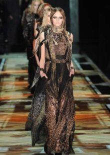 Brun og sort kjole med leopard print