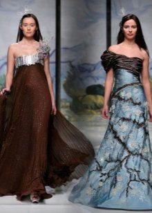 Brun kjole med blå