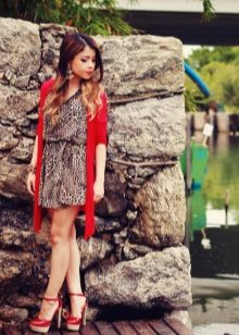 Brun leopard kjole med rød cardigan