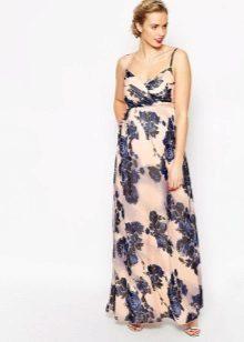 Lange jurk voor zwangere vrouwen van batiste