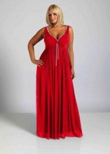 Silhouet rode lange jurk voor zwaarlijvige vrouwen