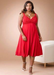 Rode silhouetjurk lang onder de knie voor vrouwen met overgewicht