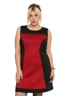 Rood-zwarte jurk voor vrouwen met obesitas